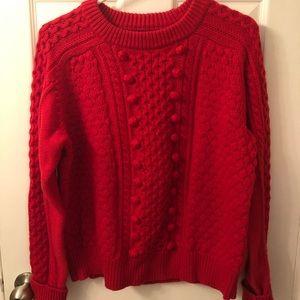 Red J. Crew Popcorn Sweater